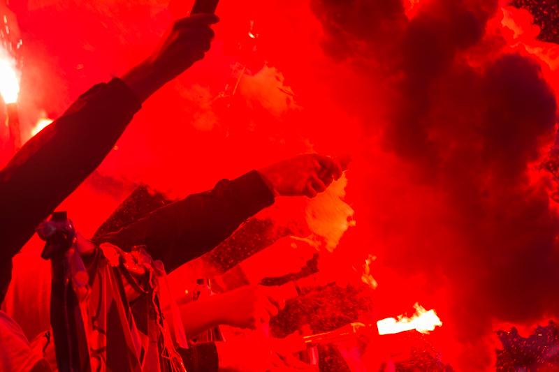 fotbal, sparta, slavia, slavie SK, eden, derby, 1:1, penalta, remíza, 2017, spolu jsme silnější, CEFC China, fanoušci, hooligans, petardy
