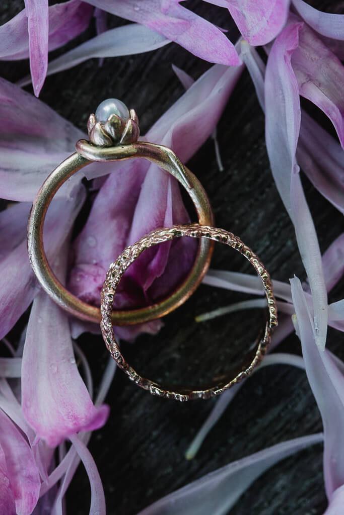 snubní, zásnubní , prsteny, prsten, prstýnky, originální, červené zlato, hanuš lamr, přírodní prstýnky, umělecké,